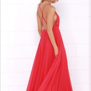 Lulus Red Criss Cross Back Maxi Dress